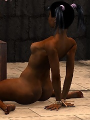 3D Sorceress loves chained Toon Orc