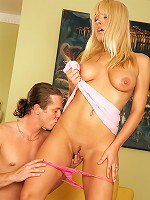 Busty blonde girl enjoys a penis