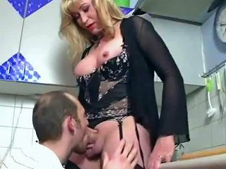 Old German Tranny Fucks Young Boy In Her Kitchen
