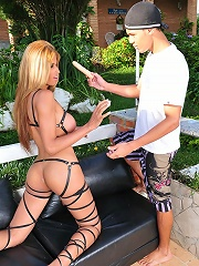Bigtitted t-girl Melina pleased with a rubber cock