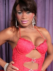 So fucking hot black tgirl in pink lingerie