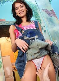 Cute teenie girl pleasing a cock