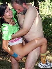 Horny senior trips a running girl