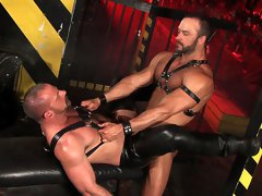 Hardcore gay movies of two hairy muscle studs fuck in leather