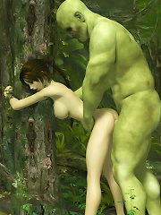 Black haired 3D gets stuffed by shy Toon Orc