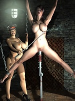 3D Harlot with soft strapon was banged