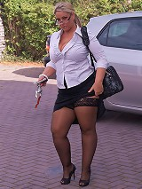 Sly BBW salesgirl seduces a client with her looks and stockings and scores a sale