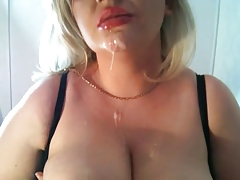 Blonde Whore sucks cock and gets mouth filled with cum