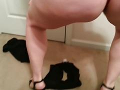 bbw Lateshay 36G saggy tits black mini blue bra strip