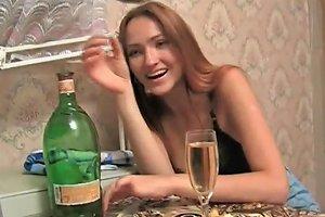 Drunk Young Russian Beauty In Black Bra