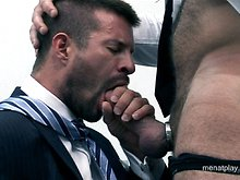 Hairy muscle hunk gets his ass fingered and fucked