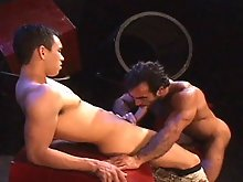It's beauty meets the muscled beast in this video between the smooth and ripped Justin and the hunky, hairy Huessein. Dressed in army garb, the s