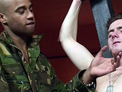 Tied up dude gives a head and gets fucked by military men