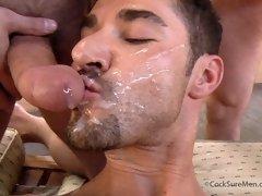 Nasty gay men in a hot threesome videos
