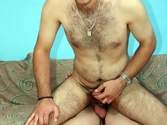 Hardcore gay movies of hairy stud riding hard cock after some sweet blowjob action