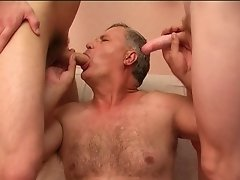Perverted old gay doesn't want to give rest to his mouth, anal taking on dicks
