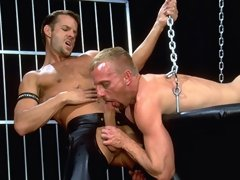 Blond bottom Riley Porter's pink, well used hole gets reamed, first by Brandon's pointy tongue, then by his massive club of a cock...