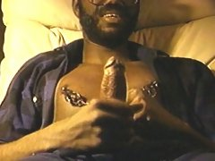 Old pervert clamps nipples and strokes