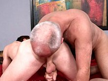 Hairy older daddy Jake and young hunk gets dirty and then fuck