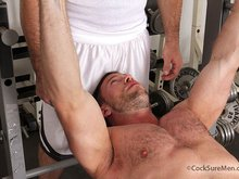 Hairy muscle gay bears Shay Michaels and Heath Jordan suck and fuck in the gym