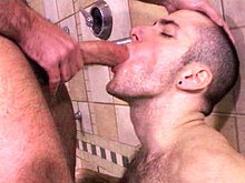 Hairy muscle studs Josh West and RJ Danvers get it on in the shower