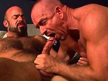 After stuffing his prick inside of his buddy's tight ass, he pulls it out and shoots hot jizz