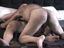 Two hairy studs get their fill of cock and ass as they lick each other's furry bodies