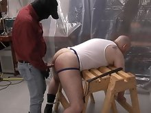 His master's dick slides easily in to this hairy bear's chubby asshole while he's tied up