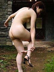 Japanese amateur girl showing her tight pussy in contryside