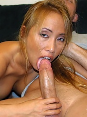 Asian French slut Bamboo works hard to milk big fat angry cock