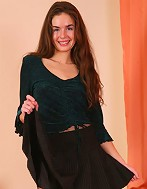 Skinny teen girl flashes booty through sheer nylon