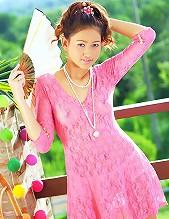 Pretty Tar Chang Strips Pink Dress