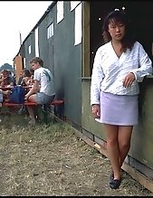 Amateur asian shows her tight pussy in forest