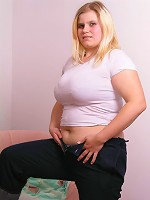 Delicious young plumper getting naked
