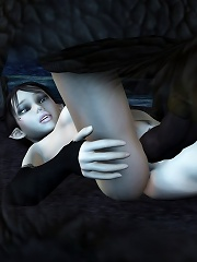 Neko-girl was filled by Goblins wang and swallows cum