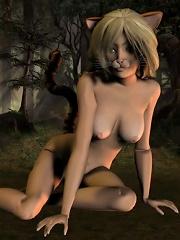 3d catgirl in the woods