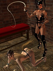 Horny 3D Floosie getting filmed and taking facial