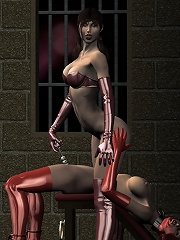 3D Babe showing herself and rammed by skinny Alien