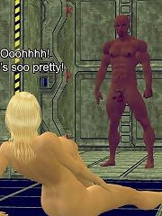3D Moster fucks brunette Porncraft Girl
