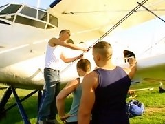 Sky diving jocks fuck in plane before shooting creamy wads all over each other