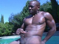 Dick-rubbing black dude JR Langdon masturbating in a pool