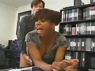 Black Busty Nympho Bitch Fucked In The Office