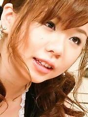 Aoi Mizumori Asian busty in house keeper uniform strokes dicks