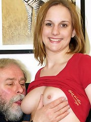 Old bearded senior screwing chick