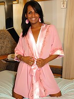 Brazilian tranny Grazielly might look all sweet and innocent, but as soon as she pulls down her panties, you know shes actually a horny slut!