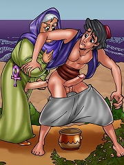 Aladdin gets his asshole probed with shemale cocks