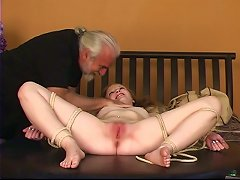 Dude Binds Rosy-titted Blonde's Legs Open Then Fingers Her Clit