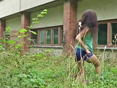 Gorgeous Little Curly Brunette Gets Fucked On The Roof