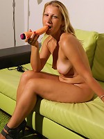 Hot blonde housewife getting herself off