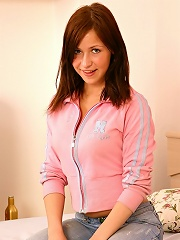 Teen slut Karola inserts bottle right in her tight pussy